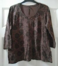 Ladies - TU - Smart Brown Patterned Crew Neck 3/4 sleeve Top - Size 18