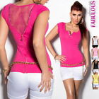 New Sexy Women's Lace Top Casual Club Evening Shirt Size 2 4 6 8 10 12 XS S M L