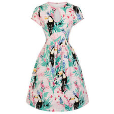 Hell Bunny Toucan Tropical Floral Bird Print Retro Vintage 1950s Summer Dress