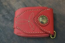 Men's bifold wallet purse genuine leather Red