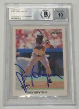 Tony Gwynn Signed 1990 Leaf Padres Baseball Card #154 BAS COA Gem Mint 10 Auto'd