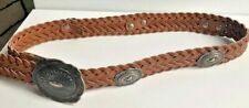 Vintage TAN Leather braided Western Belt with Silver Aztec Discs - Size M/L