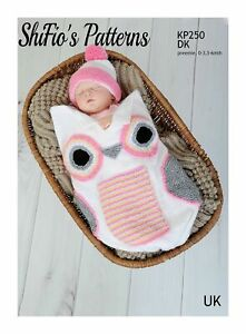 Knitting Pattern for Babies Owl Cocoon and Hat in 3 Sizes, Preemie, 0-3mths a...