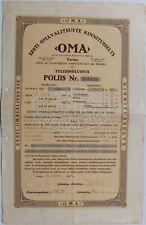 1933 Estonia Insurance Policy Society OMA Tartu
