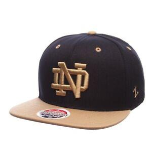Notre Dame Fighting Irish Zephyr Z11 NCAA Snapback Hat Cap Flatbill Black/Khaki