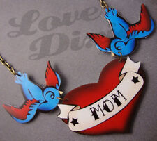 'MOM' Red Scroll Tattoo Necklace Red/Blue Swallows Rockabilly Kitsch DIY
