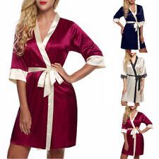 Women Luxury Satin Pajama Sleepwear Bathrobe Sexy Long Robe Nightgown Nightwear
