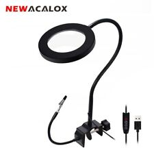 NEWACALOX 2.5 X Magnifying Glass LED Light Flexible Arm Soldering Reading Beauty