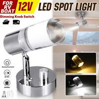 12V Dimmable LED Reading Spotlight Bedside Wall Lamp Boat RV Caravan Camper