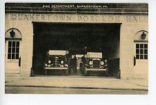 Quakertown PA Fire Department & Trucks Rare Vintage PC ca. 1930s