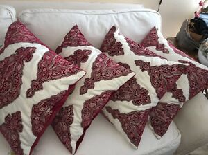 """New Dillards Southern Living 22"""" Red/white Throw Pillow Lot Of 4"""