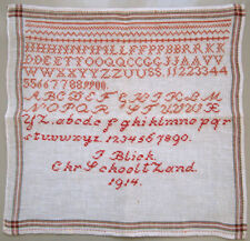 1914 ANTIQUE DUTCH RED & PINK ALPHABET SAMPLER SCHOOLGIRL NEEDLEWORK