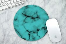 LIGHT BLUE MARBLE Round Mouse Pad Mice Mat For Laptop Notebook Computer Gaming
