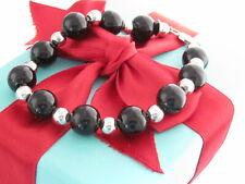 "Tiffany & Co Silver Silver Onyx Bead Bracelet 7.75"""