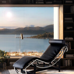 Fit Le-Corbusier Style LC4 Chaise Lounge Chair Real Leather Recliner Stainless