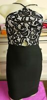 Gorgeous Black & White Lacy / Stretch Dress by Lipsy, Size 8
