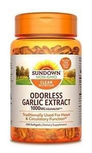 Sundown Garlic 1000 mg, 250 Odorless Softgels (Packaging May Vary) Non-GMOˆ,