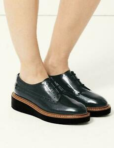 NEW M&S COLLECTION dark grey Leather Flatform Brogue Shoes, SIZE 6.5