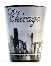 CHICAGO ILLINOIS BLACK B & W SHOT GLASS SHOTGLASS