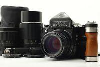 [Exc+5] Pentax 6x7 Mirror Up Eyelevel w/ Lens Set Strap Wood Grip From JAPAN 292