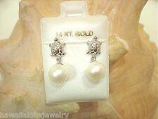 7.7mm Hawaiian 14k White Gold Cultured Freshwater White Pearl Honu Earrings