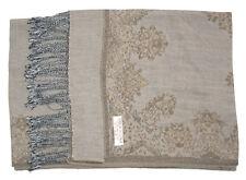 Double Layer Gray / Brown Pashmina & Silk Shawl Scarf