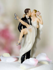 Over the Threshold Funny Kissing Wedding Cake Topper
