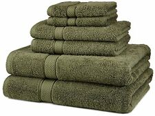 NEW 6-Pc Bath Towel Set Egyptian Cotton Moss Green Soft Durable Hand Wash Soft