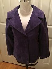 Purple Suede Leather Lined Jacket Womens Medium - Tria