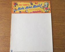 Vintage Walt Disney Productions 1946 Make Mine Music Letterhead Origininal Issue