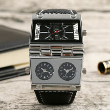 OULM Creative Black Leather Band Men Army Military Quartz Wrist Watch Pin Buckle