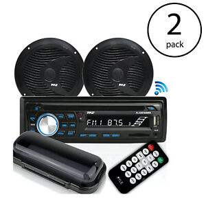"Pyle Marine Bluetooth Stereo Receiver & 6.5"" Speaker Pair with Remote (2 Pack)"