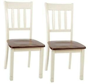 sburg Dining Room Chair Set of 2, Brown/Cottage White