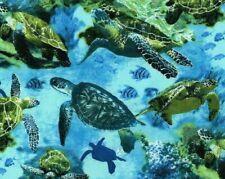 FAT QUARTER FABRIC  SEA TURTLES  OCEAN  TROPICAL FISH  TURTLE NOVELTY COTTON  FQ