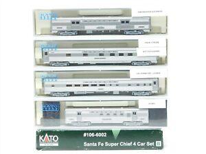 N Scale KATO 106-6002 ATSF Santa Fe Super Chief 4 Car Passenger Set w/Lights