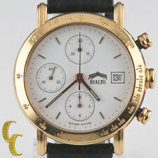 Rialto 18k Yellow Gold Chronograph Automatic Watch w/ Date & Leather Band