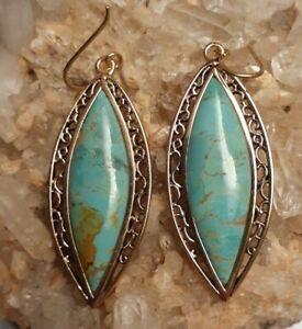 """Studio Barse Bronze Turquoise 2.5""""  Dangle Earrings Signed"""