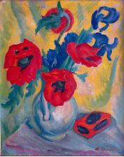 Max Habersetzer (1892 München): Mohnblumen und Iris Ölgemälde, 1921, 70 x 60 cm