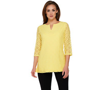 Isaac Mizrahi Live 3/4 Sleeve Mixed Lace Tunic Size S Citron Color