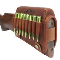 Tourbon Leather Buttstock Cheek Rest Rifle Ammo Holder Cartridge Pouch Left-hand