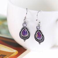 925 Fashion Silver Earrings  Engagement Jewelry Amethyst Gemstone Women Wedding
