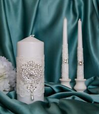 White lace wedding unity candle set with silver crystal and pearl