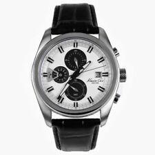 ALL NEW KENNETH COLE KC8041 $175 MENS WHITE DIAL CHRONOGRAPH LEATHER STRAP WATCH