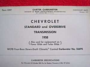 1958 CHEVROLET STANDARD & OVERDRIVE CARTER WCFB CARBURETOR SPEC, INFO SHEET