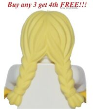 ☀️NEW Lego Minifig Hair Girl Long BLONDE Female Braided Yellow Ponytail Pigtail