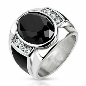 Business Men Black Onyx Diamond Ring 925 Silver Rings Wedding Jewelry