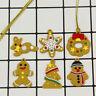 6Pcs Mini Gingerbread Man Christmas Ornaments Deer Snowman Tree Pendant FE