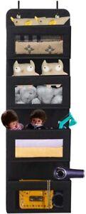 BrilliantJo Over The Door Storage, 4 Pockets Soft Fabric Hanging Organiser BLACK