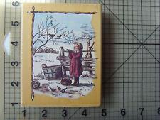 PSX Very Rare Tasha Tudor, Illustrator Christmas Scene Wood Mounted Rubber Stamp