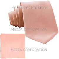 New formal men's necktie & hankie set solid color polyester party mauve pink